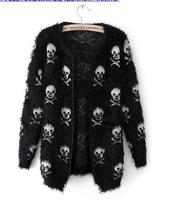 Winter New Women Sweater Knit Wool Sweater Skull Head Hippocampus Fashion Cardigan Loose Sweater