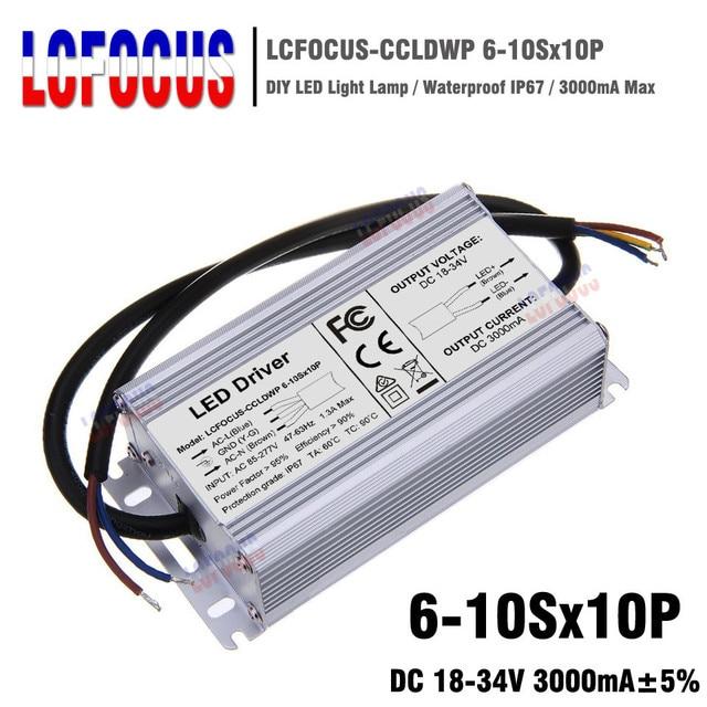 High Power 100W LED Driver IP67 Waterproof 100 W Watt Transformers 85-265V 3000mA For COB LED Chip DIY Grow Light Floodlight