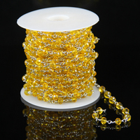 Yellow Glass Quartz Faceted Rondelle Beads Chains,Plated Silver Wire Wrapped Link Making Necklace Rosary Supplies Wholesale Bulk
