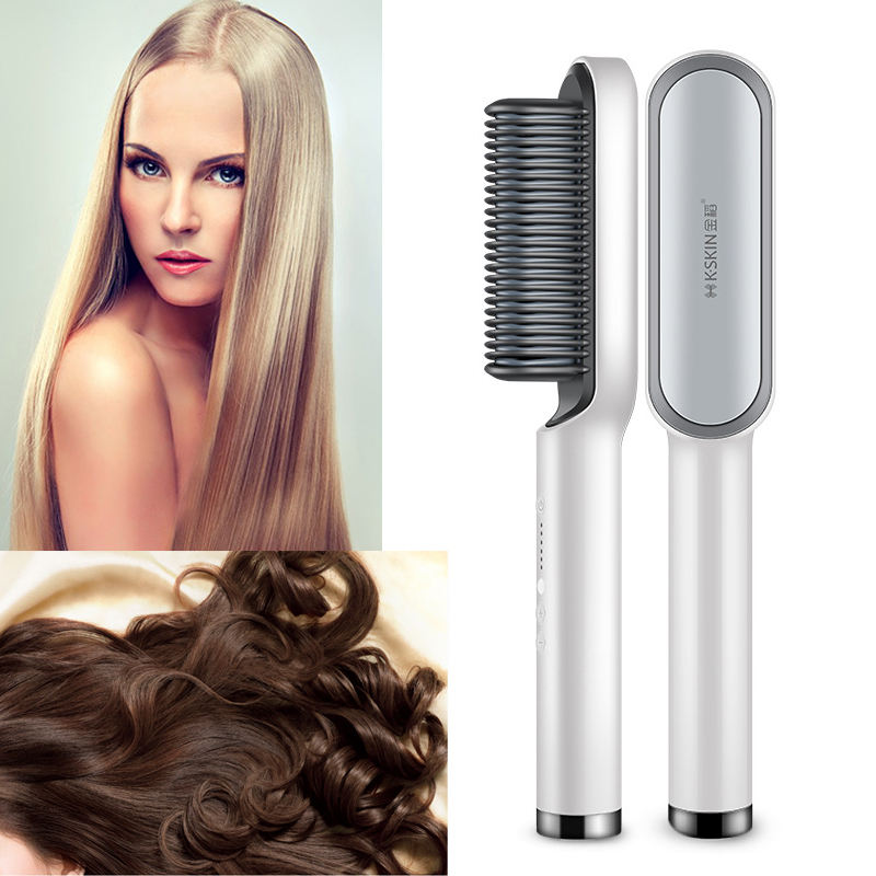 Professional Ceramic Tourmaline Hot Comb Straightener Detangling Curly Hair Brush Electric Straightening Comb Ion Brush Smooth