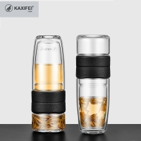 KAXIFEI 500ML Glass Water Bottle 304Stainless Steel+Glass For Women Elegant Brief Double Wall Leakproof Bottle With Tea Filter