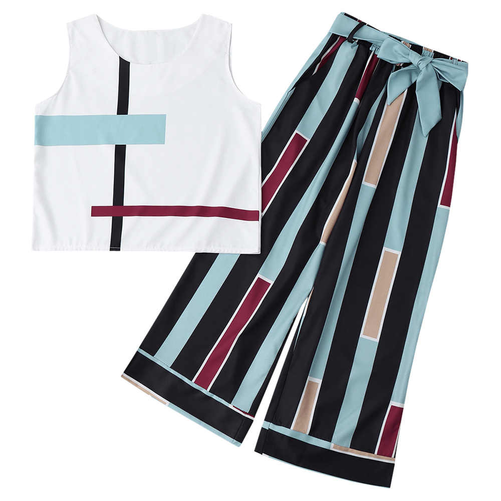 Wipalo 2019 Women Casual 2 Two Piece Set Women Summer Sleeveless Striped Tank Top Belted Pants Set Tees and Long Pants Suit