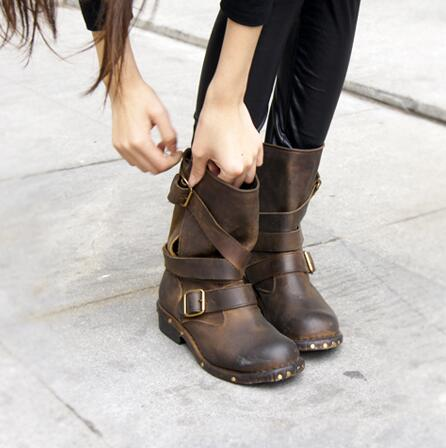 b7cc56fbf5974 Punk New Style Women Ankle Boots Black Brown Top Leather Square Toe Flat Booties  Straps Design Botas Old Leather Motorcycle Boot-in Ankle Boots from Shoes  ...