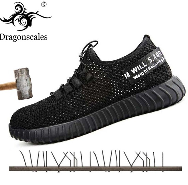 96a7a5fc5881 US $28.79 43% OFF Dragonscales safety shoes for men Steel Toe Boots Outdoor  Prevent Puncture Steel Bottom Construction Safety Work Boots Shoes-in Work  ...