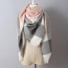 140x140cm Za winter acrylic cashmere tartan plaid scarf brand blanket shawl designer pashmina wrap stole for Lady Women Girl