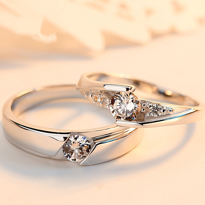 Korean version of Sterling Silver 925 eternal oath couples on ring opening female fashion simple student ring female jewelry