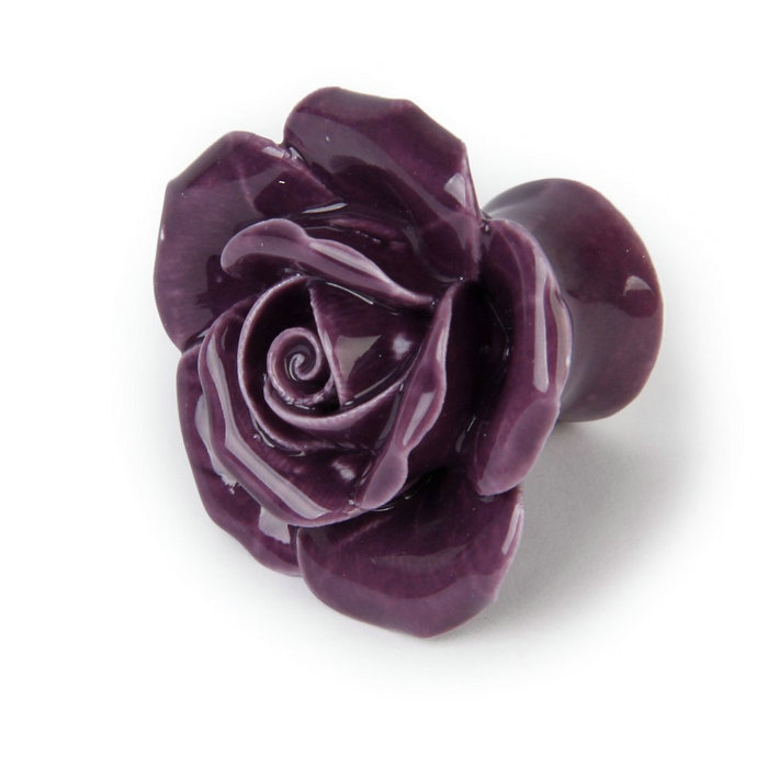 Rose Flower Ceramic Kitchen Cabinet Cupboard Pull Handle Purple Drawer Dresser Knobs Unique decorative handles for furniture