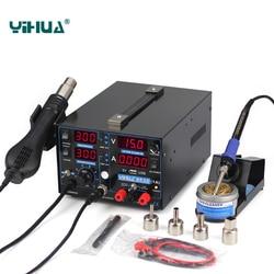 YIHUA 853D 1A USB SMD DC zasilacz Hot wiatrówka lutownica Rework stacja lutownicza 110 V/220 V ue/US wtyczka inteligentny wyświetlacz eu us us eustation soldering -