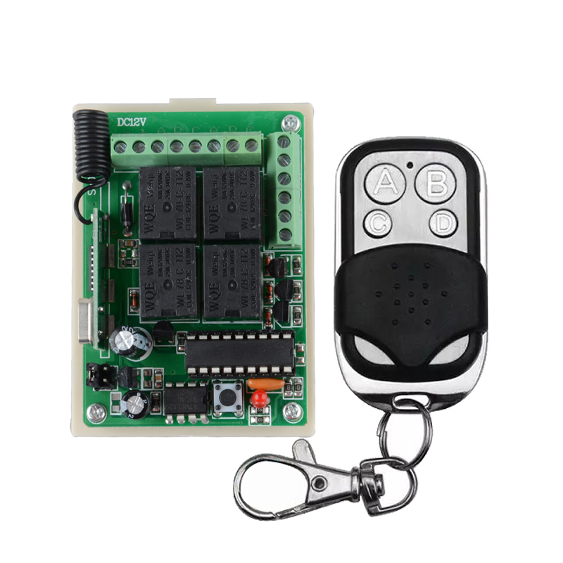 DC 12V 10A 4CH Receiver & Transmitter Momentary Toggle Switch 315mhz 433mhz Wireless Remote Light Switch 315 433mhz 12v 2ch remote control light on off switch 3transmitter 1receiver momentary toggle latched with relay indicator