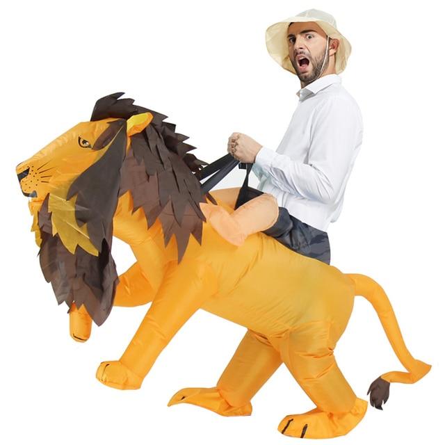 Карнавальный костюм льва костюм тигра для рождественвечерние вечеринки  Взрослый мужской женский надувной костюм нарядное платье b9e4aa642a38e