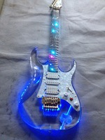 Acrylic crystal Electric guitar, Fingerboard & Acrylic Body with LED light, Acrylic Guitarra Gold Hardware, Wholesale china shop