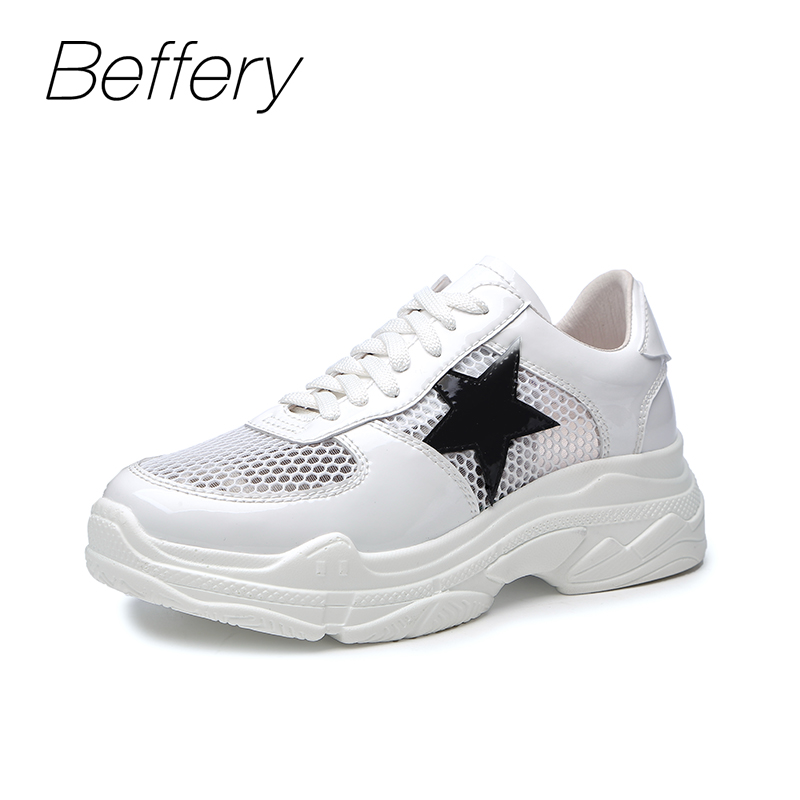 Beffery 2018 Spring Women Shoes Fashion Star Casual white Platform soles Breathable Shoes for Woman Cozy flat shoes womn women s shoes 2017 summer new fashion footwear women s air network flat shoes breathable comfortable casual shoes jdt103