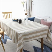 New Tablecloth Cotton Striped Beige Rectangular Modern Home Fabric Linen Table Cloth European Decoration