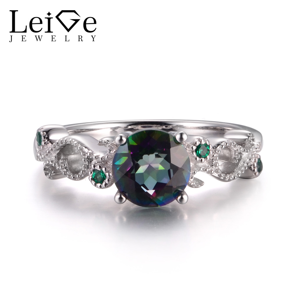 LeiGe Jewelry Genuine Mystic Topaz Rings Engagement Rings Rainbow Topaz Rings Rainbow Gemstone 925 Sterling Silver Vintage Rings