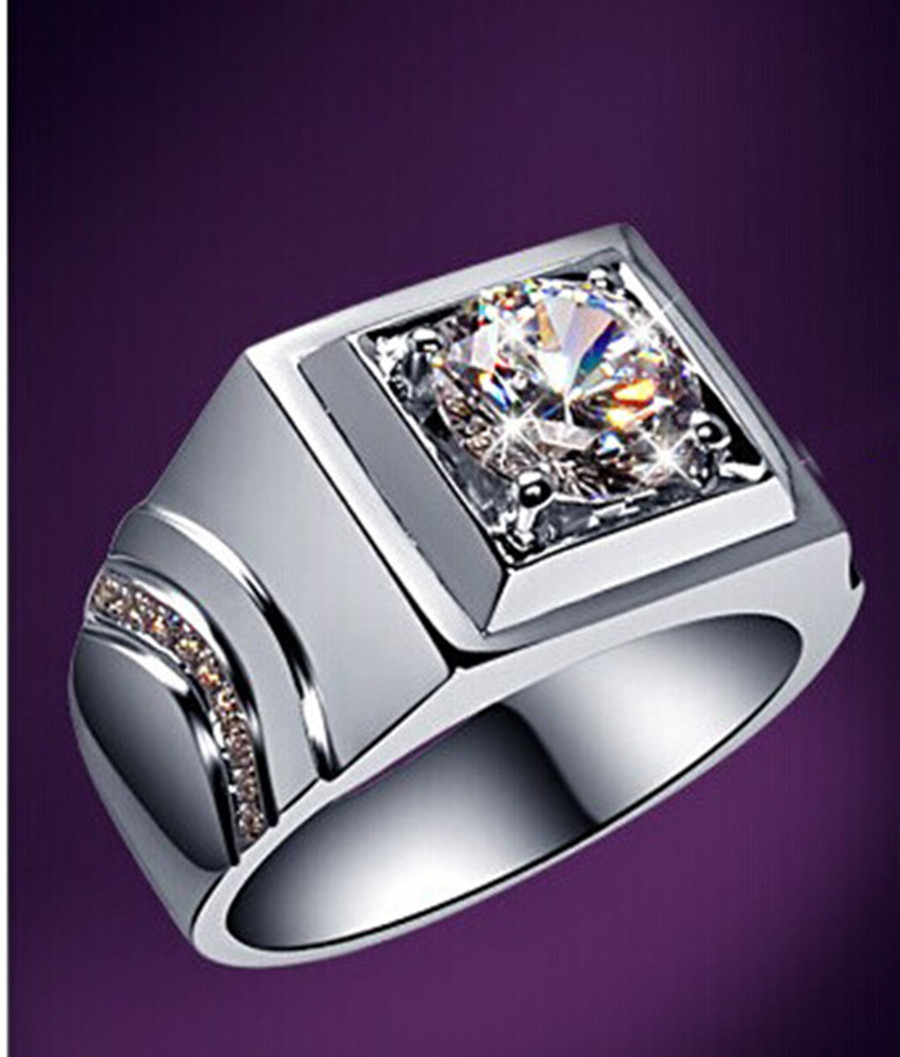 Men's Pure White Gold 18karat Fine Jewelry 1ct Synthetic Diamonds  Engagement Ring For Male Top Quality