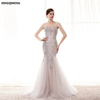 Elegant Sparkly Spaghetti Straps Mermaid Evening Dress Long Crystal Beaded Formal Dresses Gorgeous Pageant Gown Women Gown