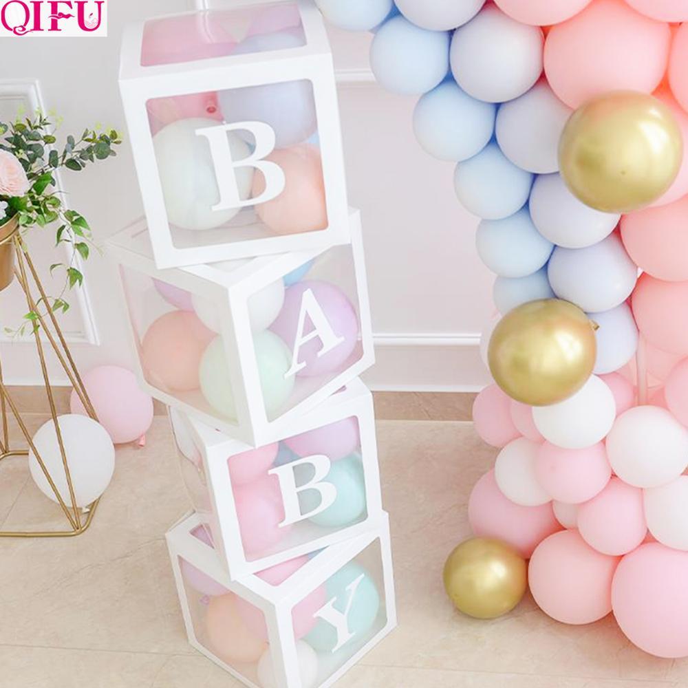 QIFU Baby Transparante Opbergdoos Ballon Baby Shower Decoraties 1st Verjaardagsfeestje Decoraties Kids Baby Shower Jongen Meisje Geschenken