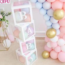 Qifu caixa transparente de balão, caixa transparente de armazenamento de balão para decoração da festa de 1 ° ano de aniversário de crianças e mostra de presentes de menina e de menino