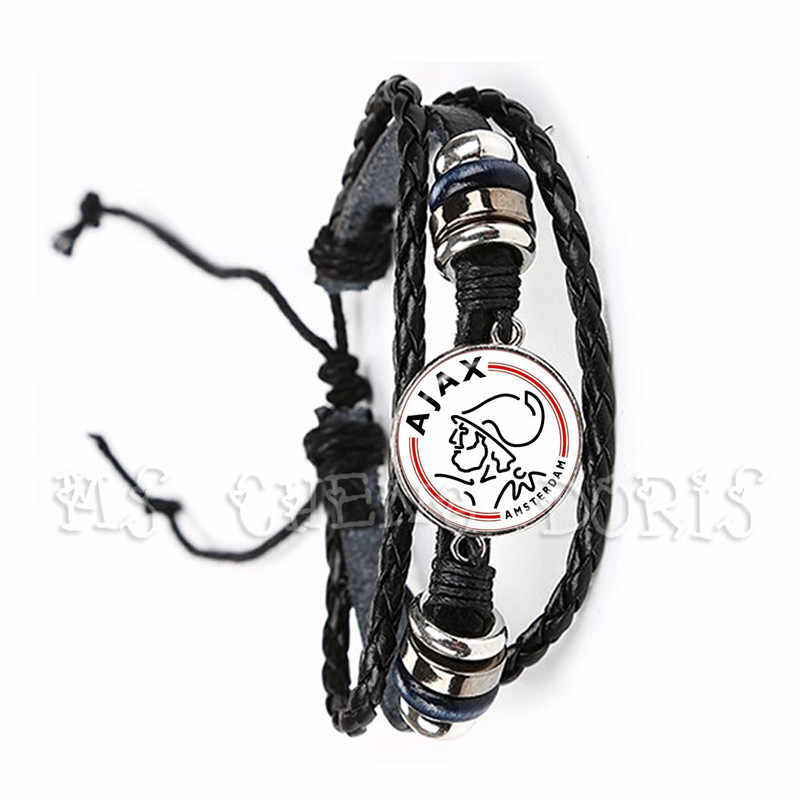 Football Club 20mm Glass Cabochon Bracelet Ajax Football Leagues Logo Soccer Club Black Leather Bangle For Fans Gift