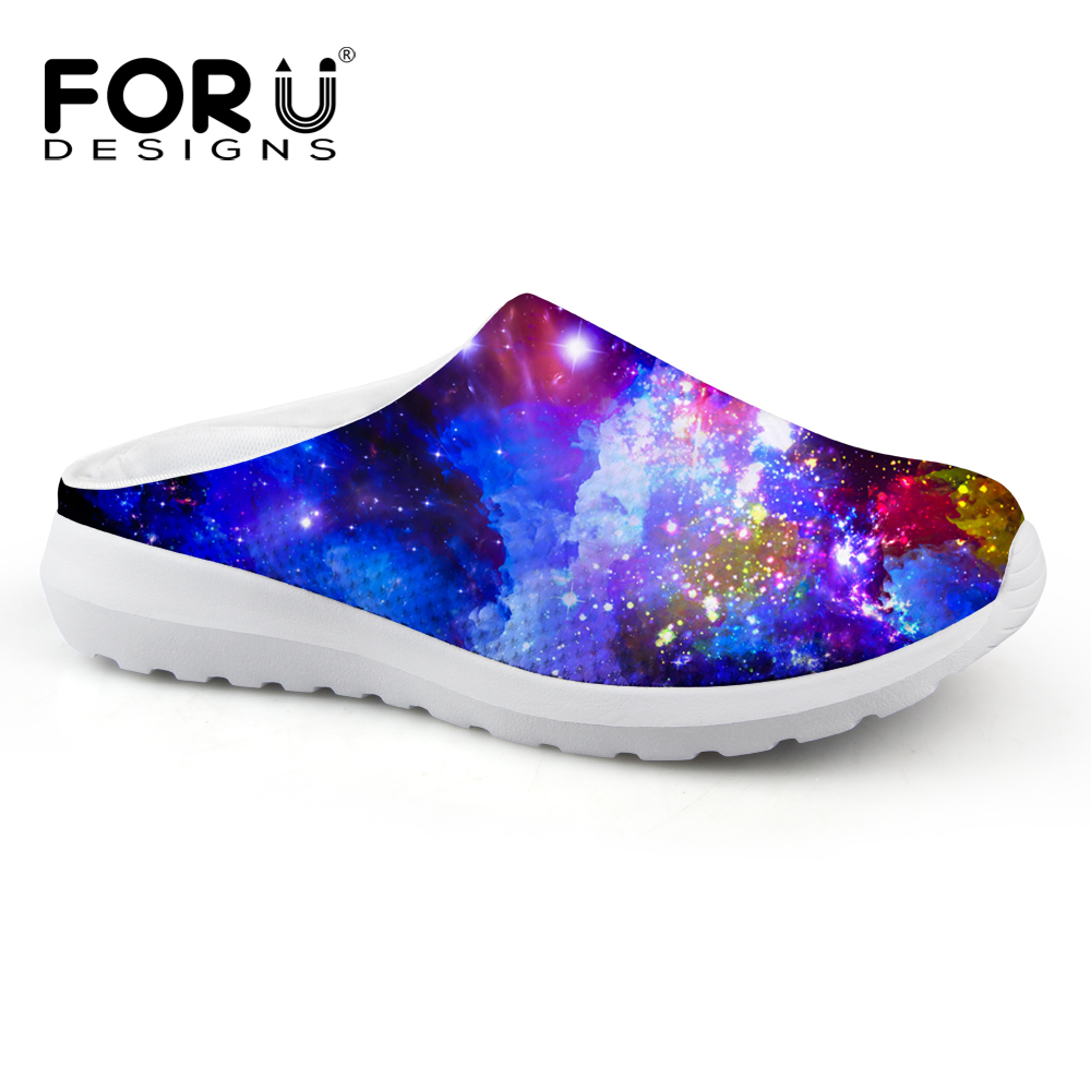 FORUDESIGNS New Women Mesh Sandals Galaxy Slippers for Girls Breathable Non-Slip Summer Beach Water Shoes Female Lazy Loafers 2016 summer new boys and girls shoes korean sports beach sandals wear non slip