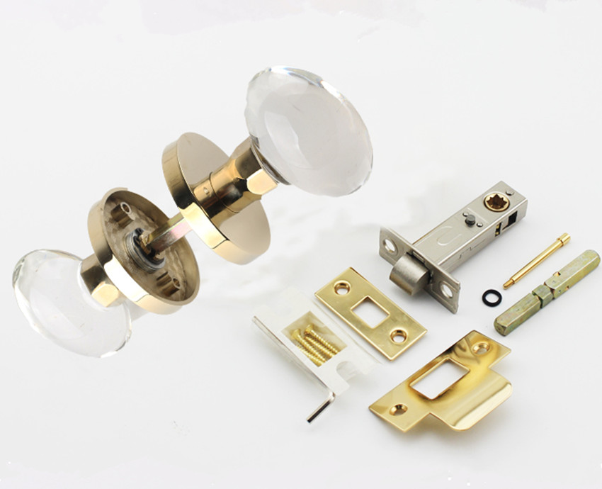 Modern fashion high quality transparent oval crystal bathroom solid wooden door lock gold silver copper single tougue lock - 5