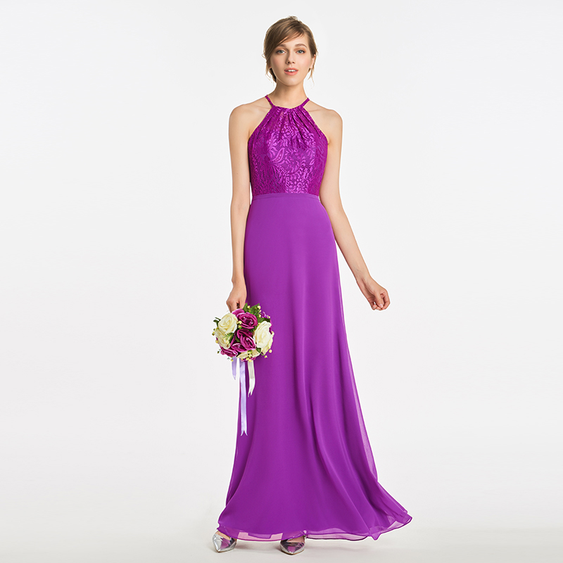 Tanpell halter a line   bridesmaid     dress   purple sleeveless floor length gown women lace graduation party formal   bridesmaid     dresses