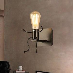 Image 5 - LED קיר אור קטן ברזל איש רכוב על קיר אור E27 בסיס Creative ילדים תינוק חדר שינה מסדרון קיר לילה אור ללא הנורה #