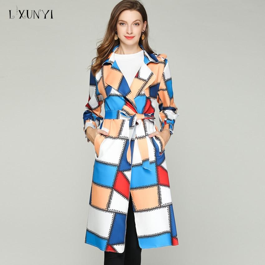 LXUNYI 2019 Autumn Women Fashion Patchwork   Trench   Coat Women Long Notched Collar Kawaii   Trench   Female Overlook Long Coats Ladies