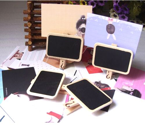 Creative Mini Blackboard Message Wooden Clips Label Clip For Leave Message Office Supplies