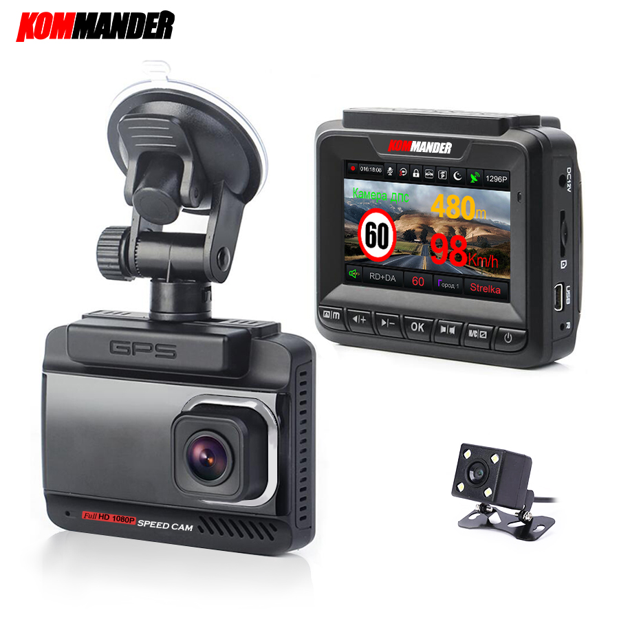 Kommander для автомобилей gps speed camera 3 в 1 anti radar full hd 1296 P road dou