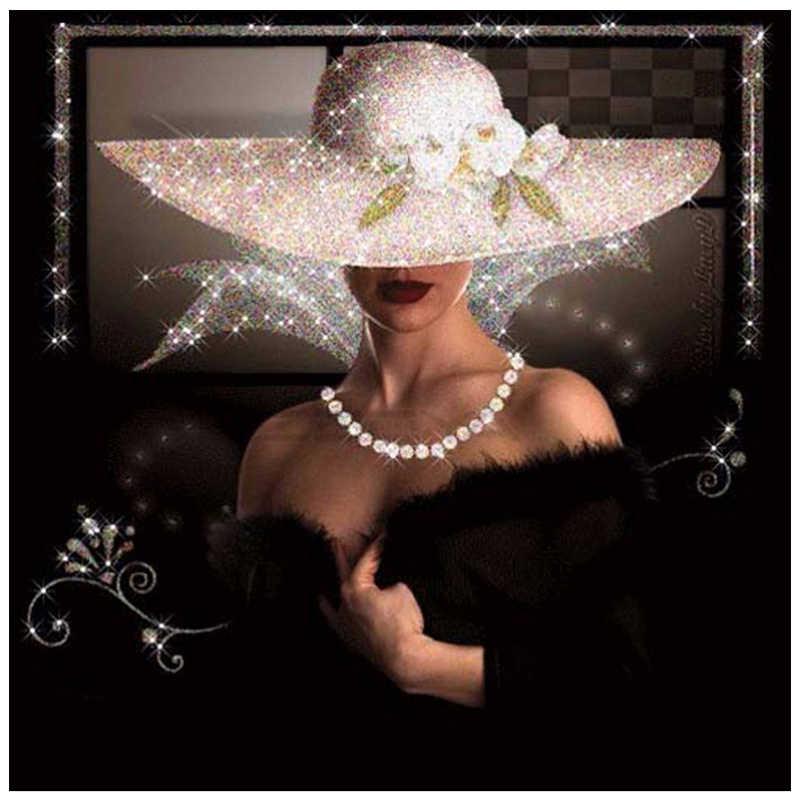 Ronde Diamant Schilderen 5D Borduurwerk Diamant Mozaïek Patroon Strass Schilderen Vrouw In EEN Zwarte Jurk Dragen Van EEN Hoed Geschenk XU