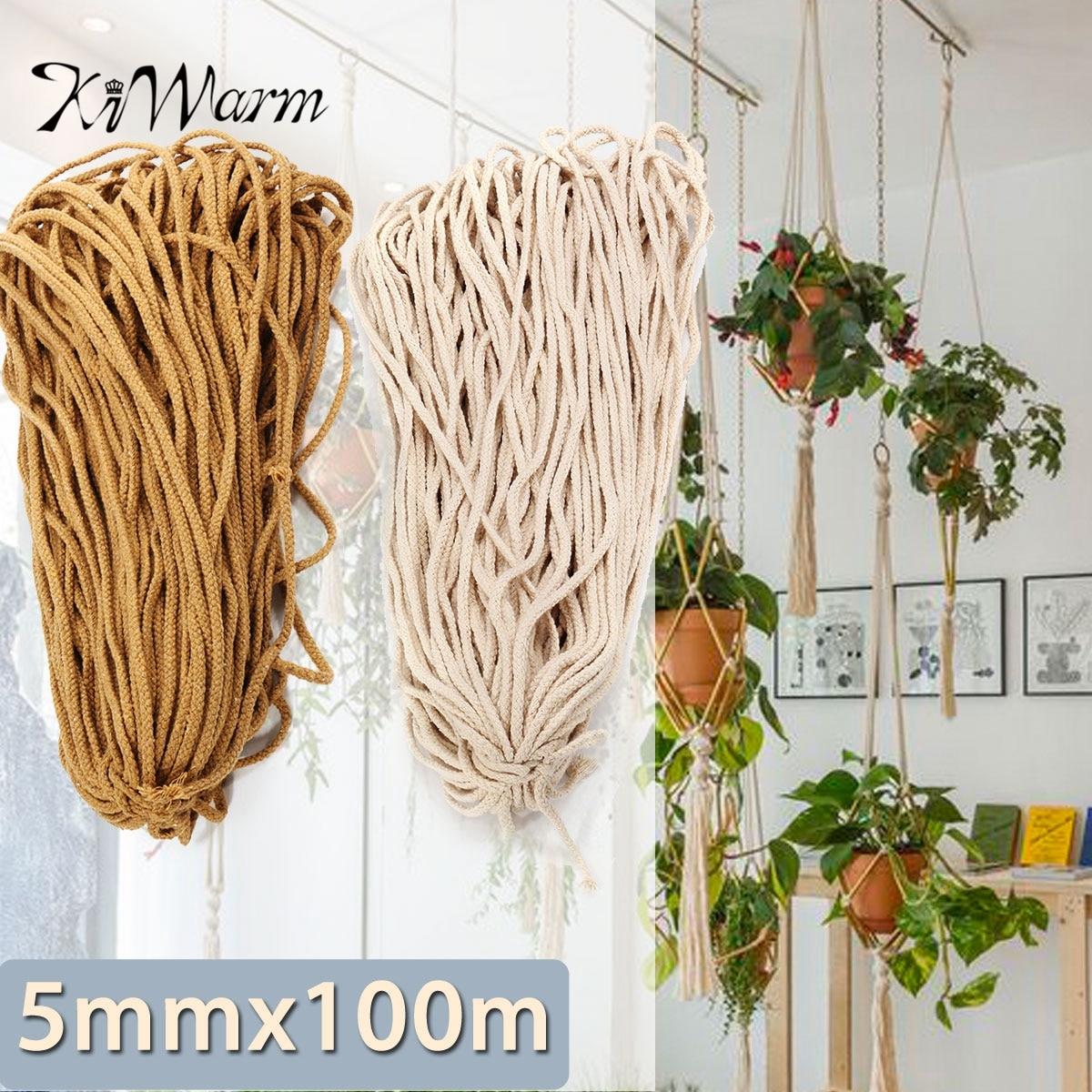 KIWARM 5mmx 100 m Geflochtene Baumwolle Seil Verdreht Schnur Seil DIY Handwerk Macrame Woven String Home Textil Zubehör Handwerk Geschenk