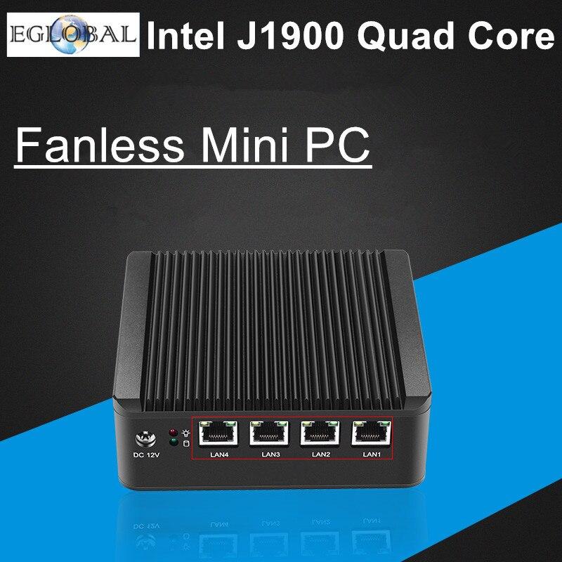 Prix pour Eglobal fanless pfsense mini pc j1900 quad core 4 * intel wg82583 gigabit lan pare-feu multi-fonction routeur de sécurité de bureau