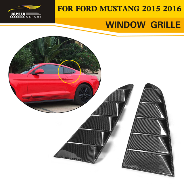 For Mustang Carbon Fiber Auto Car-Styling Side Window Air intake Trims Decoration grille for Ford Mustang 2015 2016