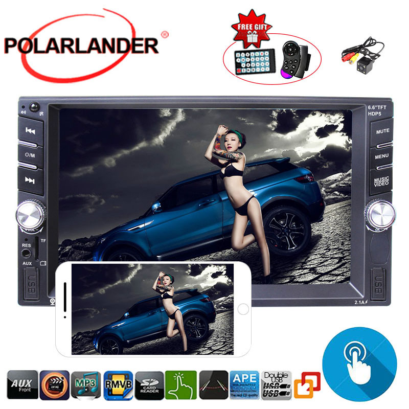 2DIN 6.6inch Car MP3 MP5 Player AM FM Bluetooth Touch Screen Stereo Radio+Camera