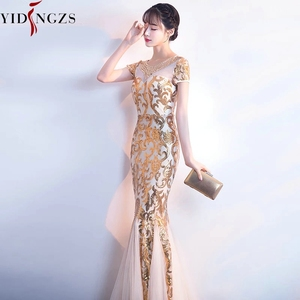 Image 5 - YIDINGZS Gold Sequins Party Formal Dress Short Sleeve Beads Sexy Long Evening Dresses YD089