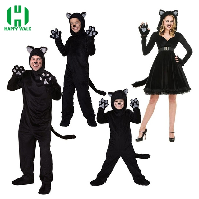 Halloween Adult Black Cat Costume For Men Women Cosplay Costumes Attached  Cuddly Animal Costume Stage Performance Clothing c873b8467fc5
