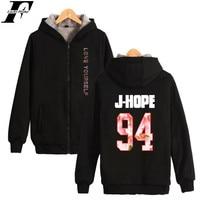 LUCKYFRIDAYF BTS Thick Sweatshirt LOVE YOURSELF Fashion Hoodie Coat Warm Zipper Plus Hot Jacket Streetwear For