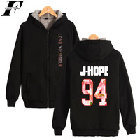 LUCKYFRIDAYF BTS Thick Sweatshirt LOVE YOURSELF Fashion Hoodie Coat Warm Zipper Plus Hot Jacket Streetwear For