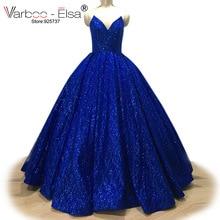 VARBOO_ELSA حار بيع سباركلي الأزرق الملكي مساء اللباس مطرزة مثير V بلا أكمام فستان حفلات 2018 مخصص ballgown vestido دي فيستا
