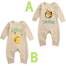 2016 Newest Cute Pokemon Go Newborn Baby Boys Girls Cartoon Pikachu Outfit Long Sleeve Jumpsuit Romper Autumn&Winter Clothes