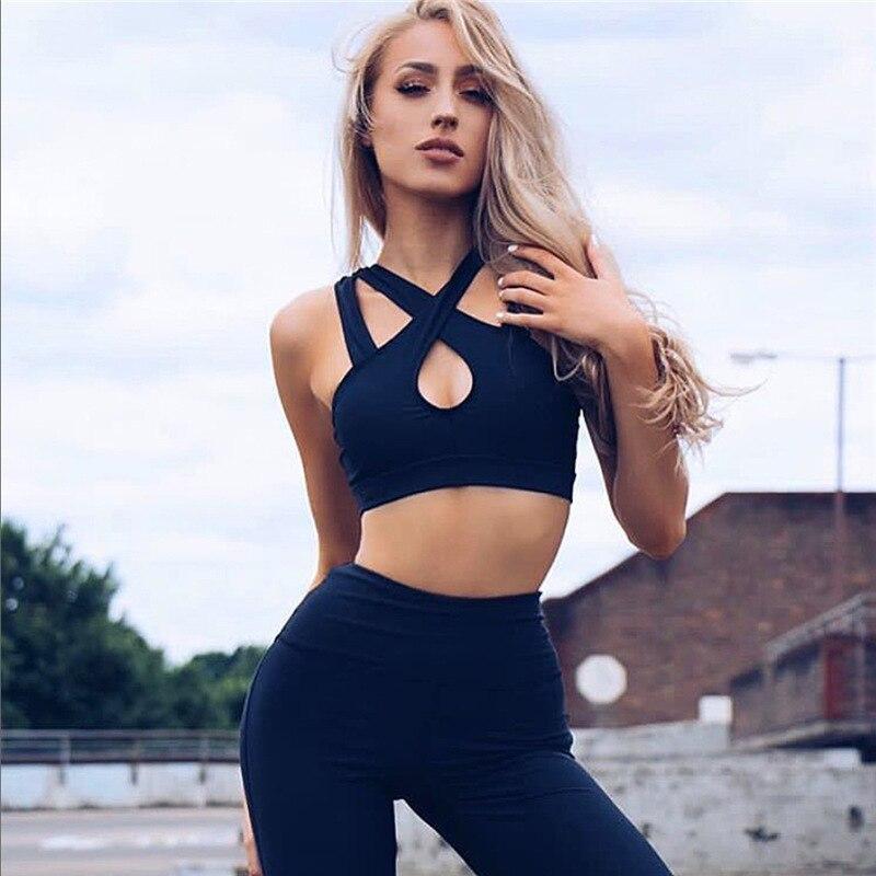 Survetement Femme Sexy Bandage Tracksuit Women Fitness Suit 2017 Female Workout Sleeveless Bra Top And Leggings 2 Piece Set ...