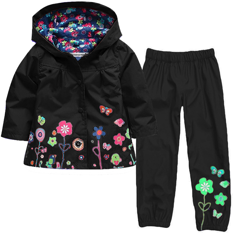 Kocotree Children Clothing Set Spring Autumn Baby Boys Girls Clothes Sets Hooded Raincoat+Pants Costume For Girls Kids Clothes new 2016 baby clothing set cartoon kids apparel boys girls children hoodies and pant children s clothing sets for autumn