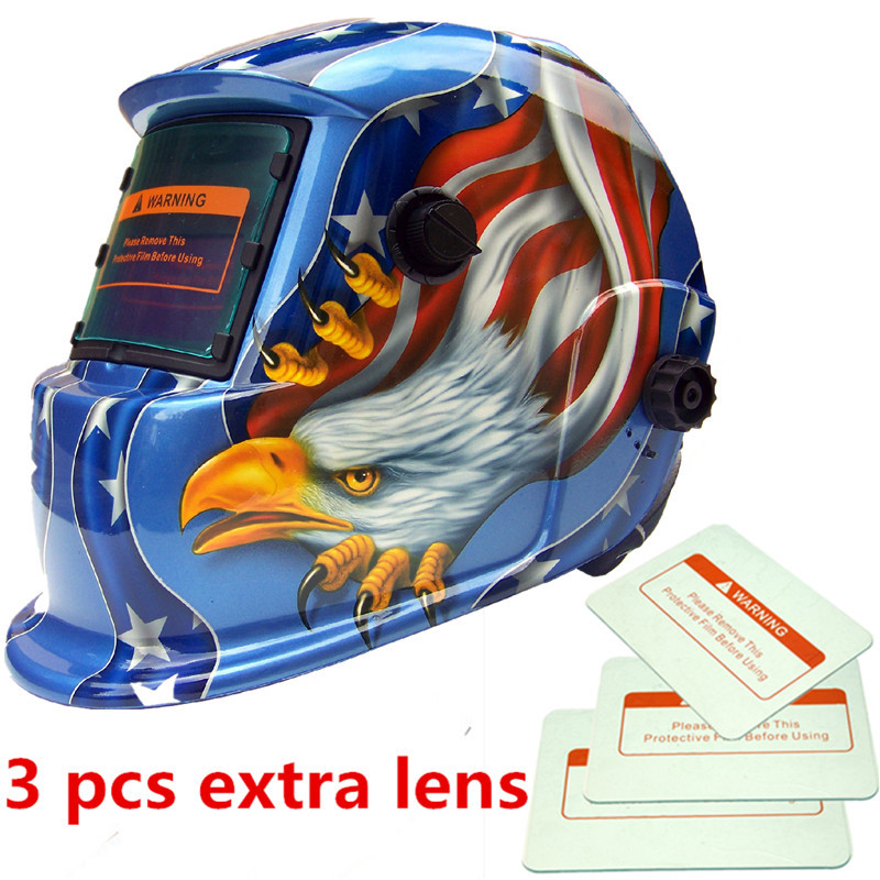 1pc Welding Helmet Premium Mask Solar Auto Darkening Welding Helmet Cap +3pcs Lens Eagle Welding Soldering Supplie
