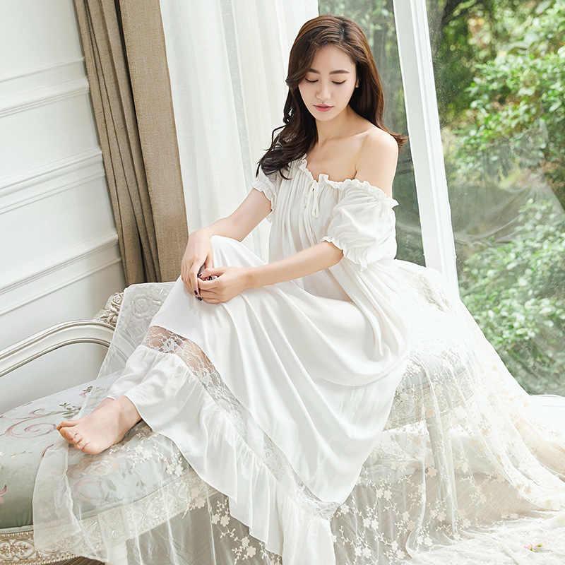 67a64156de ... RenYvtil Retro Royal Princess Nightdress Soft Lace Guaze Nightgowns  Vintage Cotton Sexy Elegant Lady Long Sleeping ...