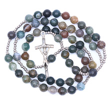 Christ cross necklace natural stone indian agate beads church supplies wholesale