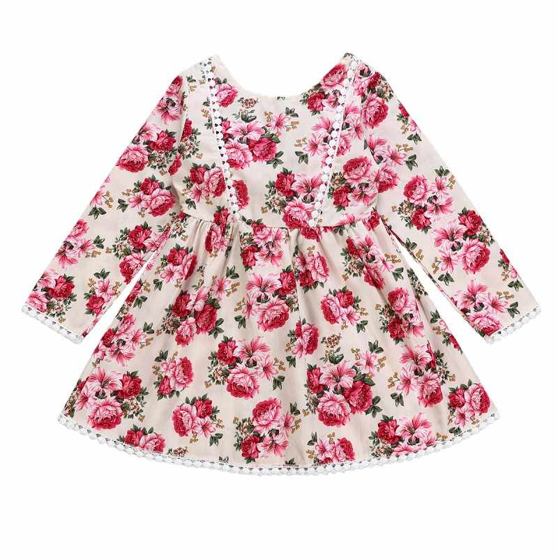 0c71ec840 2019 New Toddler Baby Girls Party Dress Kids Long Sleeve Lace Princess  Floral Bow Outfits Clothes