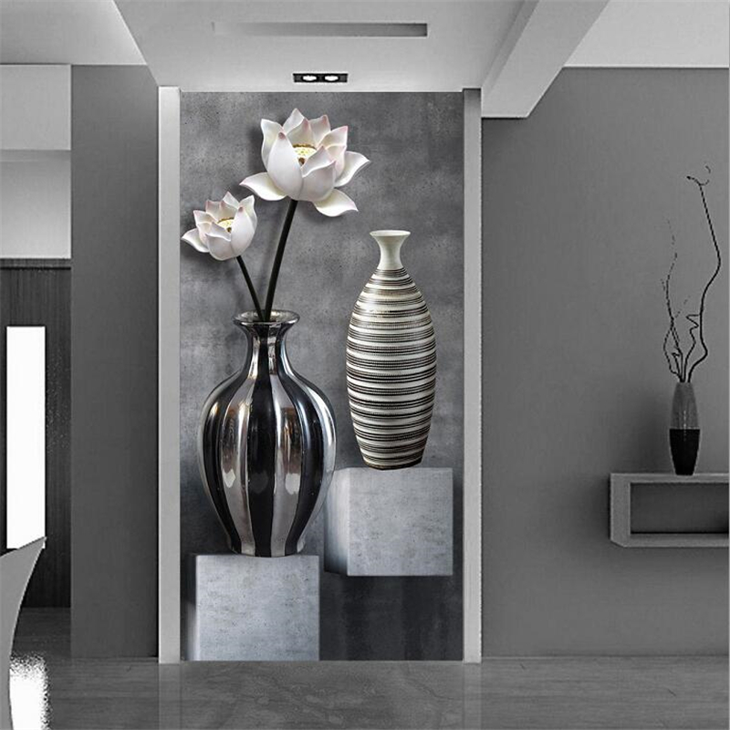Beibehang Custom Wallpaper 3d Photo Murals Papel De Parede Black And White Lotus Vase Porch Aisle Corridor Background Wall Paper