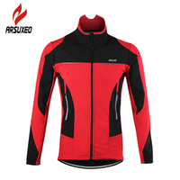 ARSUXEO Bicycle Sports Coat Thermal Fleece Cycling Jacket Windproof Warmer Bike Jacket Sport Cycling Jersey Clothing