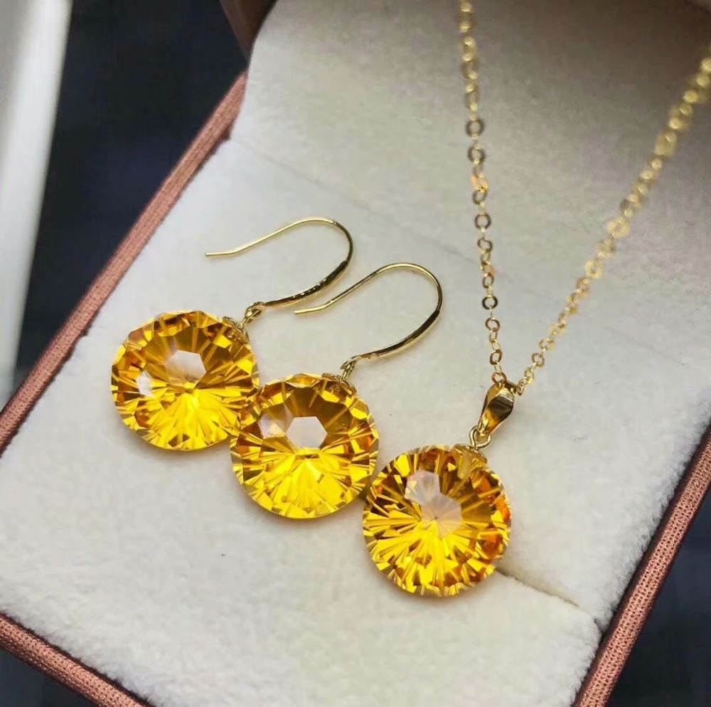 Shilovem 18k Yellow Gold Citrine Pendants Stud Earrings Fine Jewelry Women Party New None Necklace Gift 12*12mm Mymtz121208j